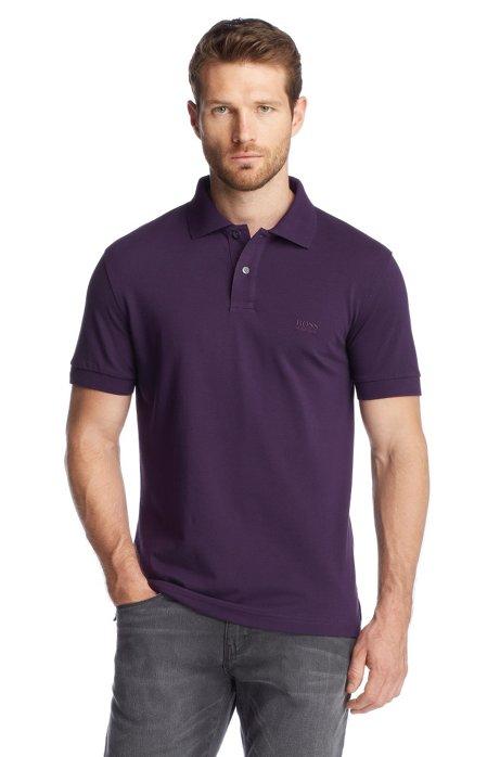 Regular-fit polo shirt in cotton piqué, Open Purple