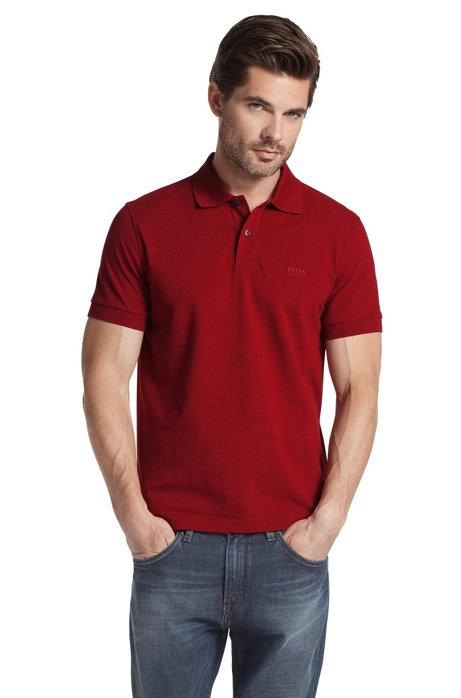 Regular-fit polo shirt in cotton piqué, Red