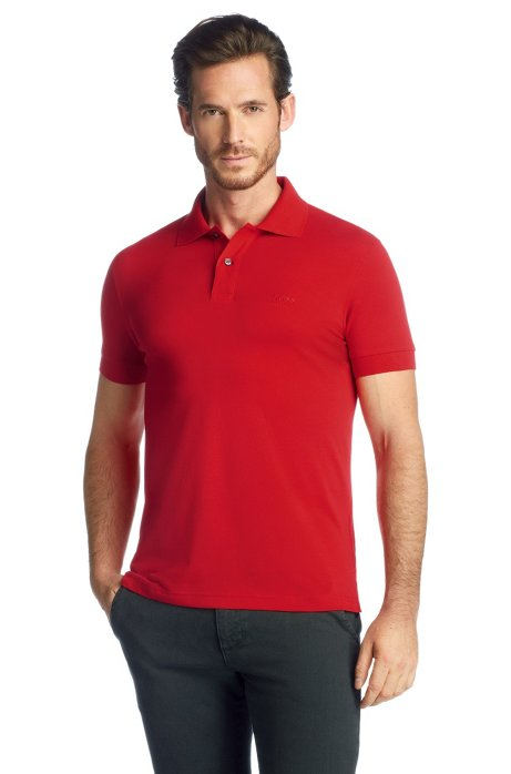 Regular-fit polo shirt in cotton piqué, Open Red