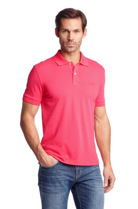 Regular-fit polo shirt in cotton piqué, Pink