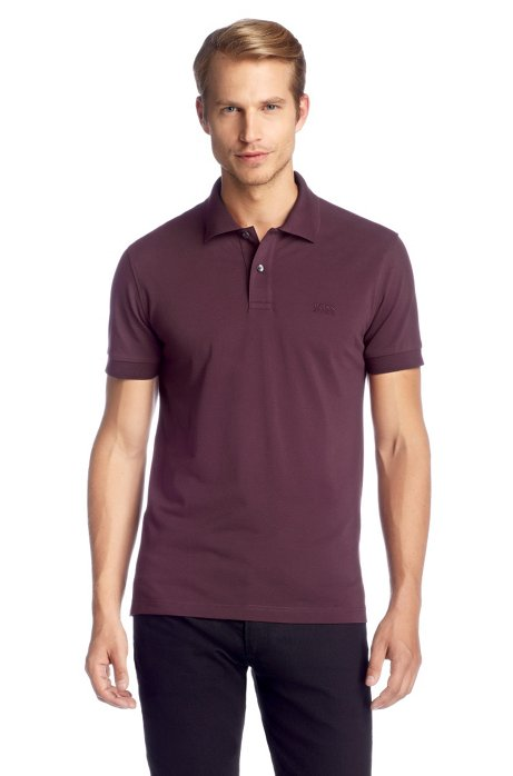 Regular-fit polo shirt in cotton piqué, Open Pink