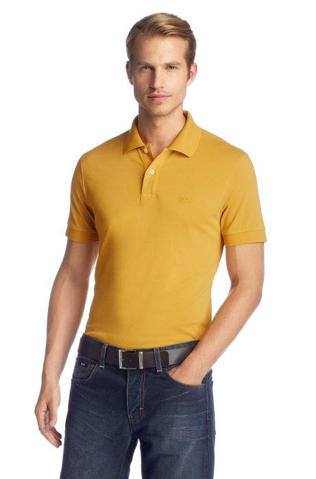 Regular-fit polo shirt in cotton piqué, Yellow