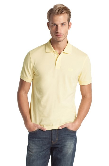 Regular-fit polo shirt in cotton piqué, Open Yellow