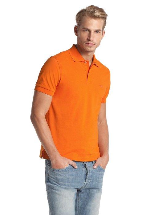 Regular-fit polo shirt in cotton piqué, Orange