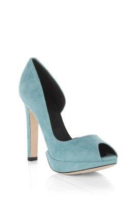 Suede peep toe 'SYLVIE', Turquoise