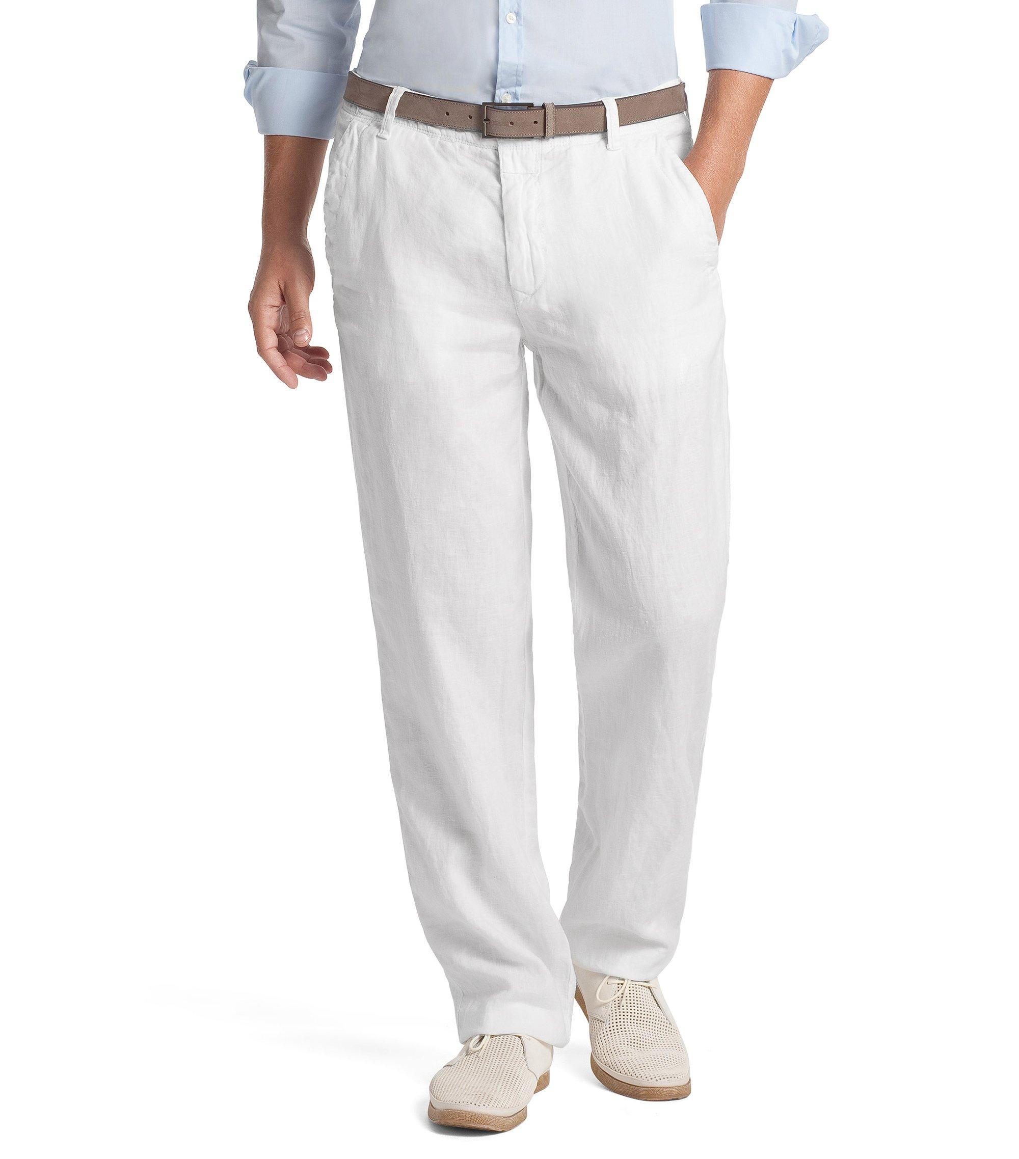 Comfort-Fit Leinenhose ´Callum-W`, Weiß