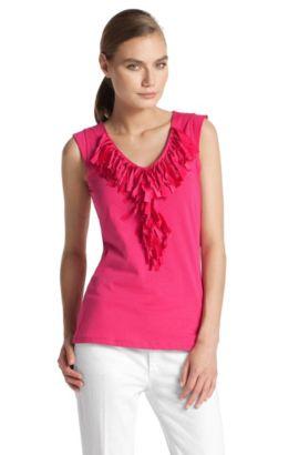 Top ´E4004` mit tiefem V-Ausschnitt, Pink