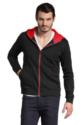 Veste à capuche en jersey doux, Darrys, Noir