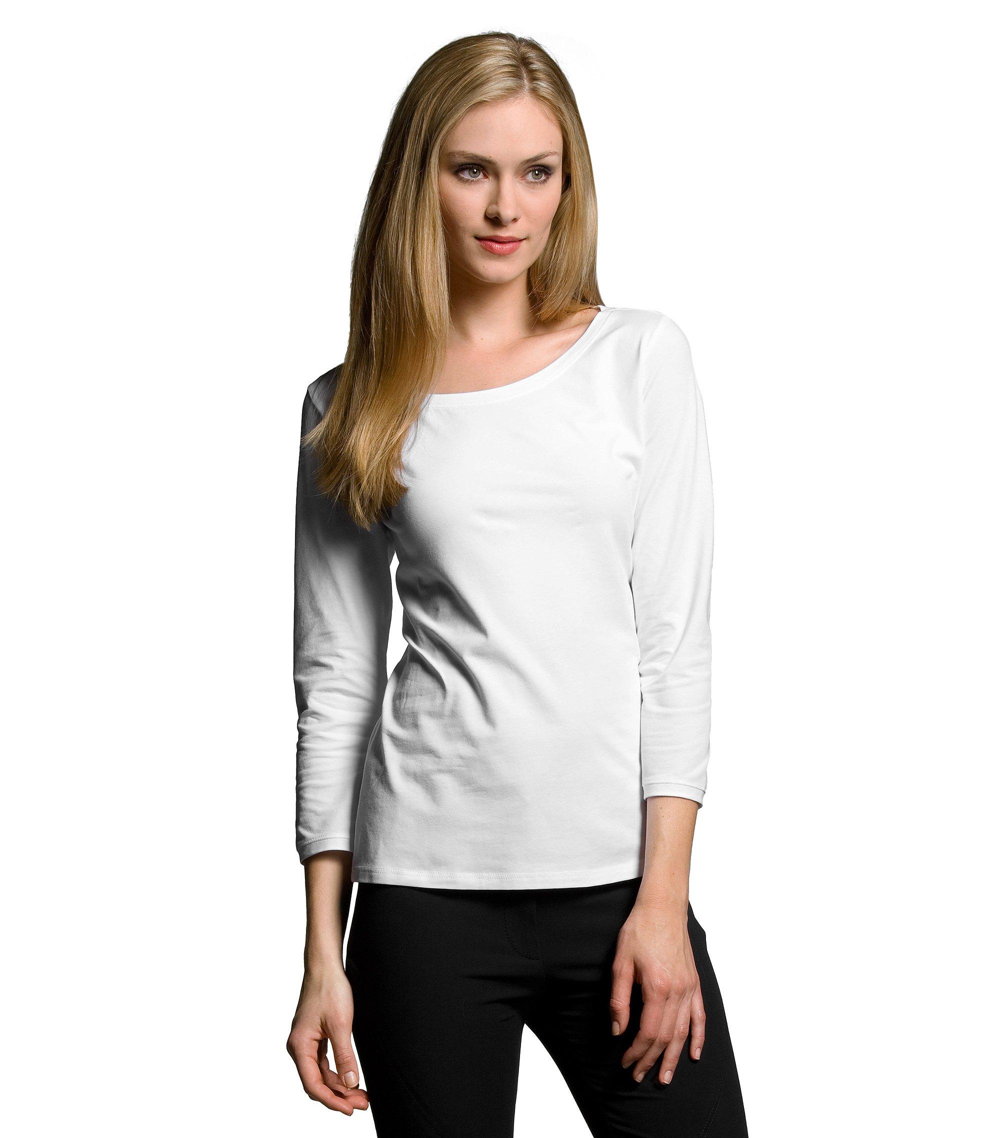 Designer-Longsleeve ´E4020` mit Rundhals, Weiß