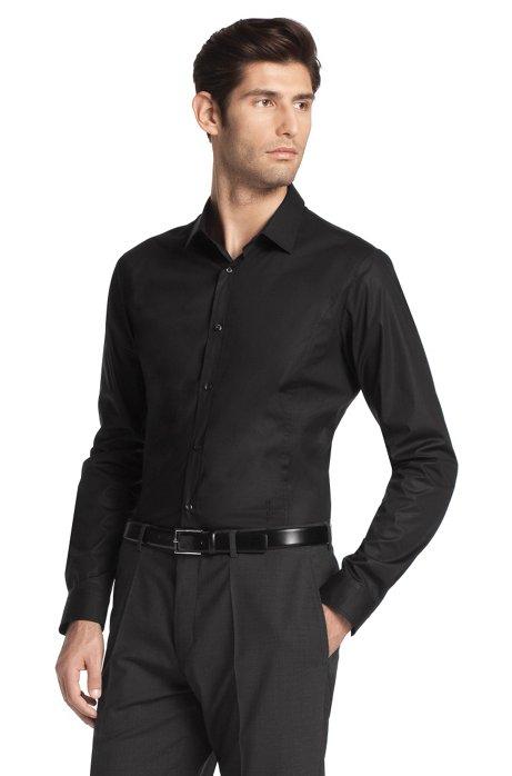 Slimline fashion shirt 'Ebiano', Black