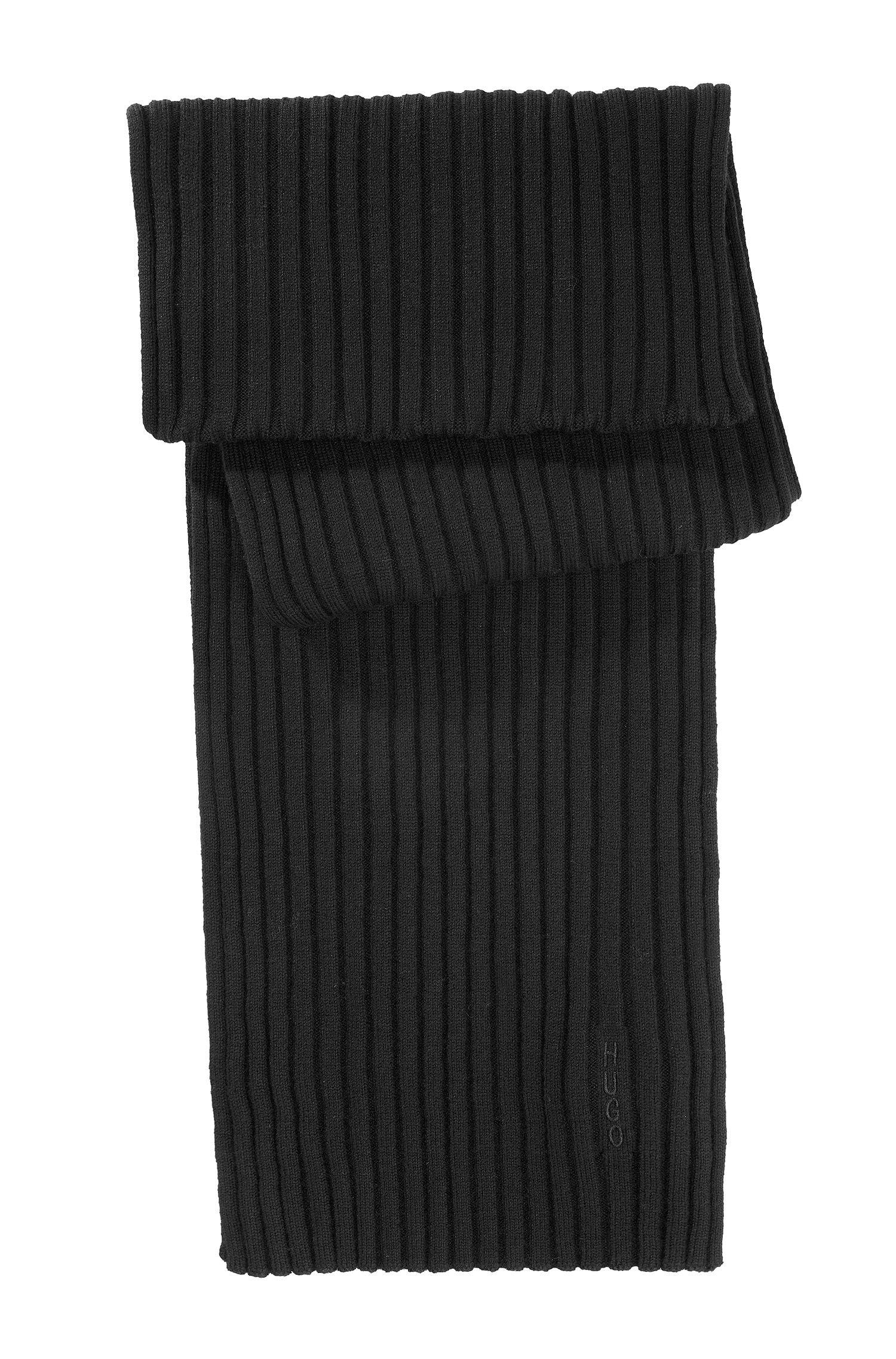 Schal ´Zapo_1` aus Schurwolle in Feinstrick, Schwarz