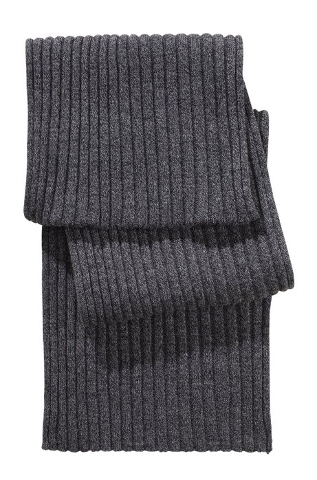 Fine knit wool scarf  'Zapo_1', Anthracite