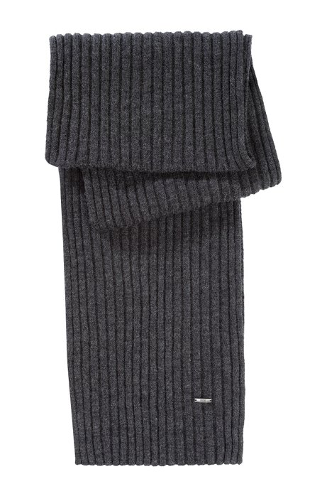 Fine knit wool scarf  'Zapo_1', Open Grey