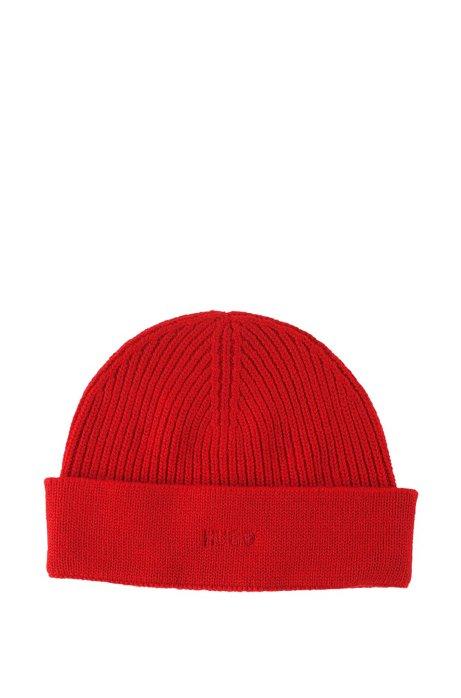 Finely knit shorn wool cap 'Xian-1', Red