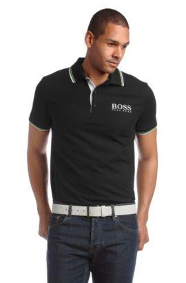 Poloshirt ´Paddy Pro` met sierstrepen, Zwart