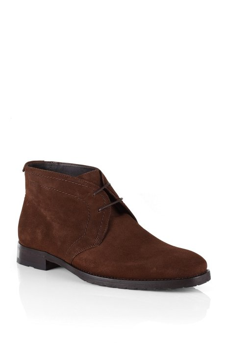Smooth, calf leather suede ankle boot 'CLENNO', Dark Brown