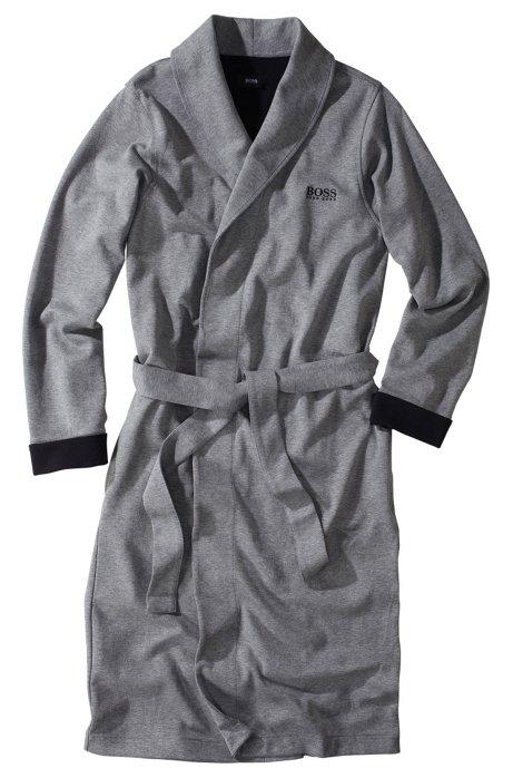 Cotton blend bathrobe 'Shawl Collar BM', Grey