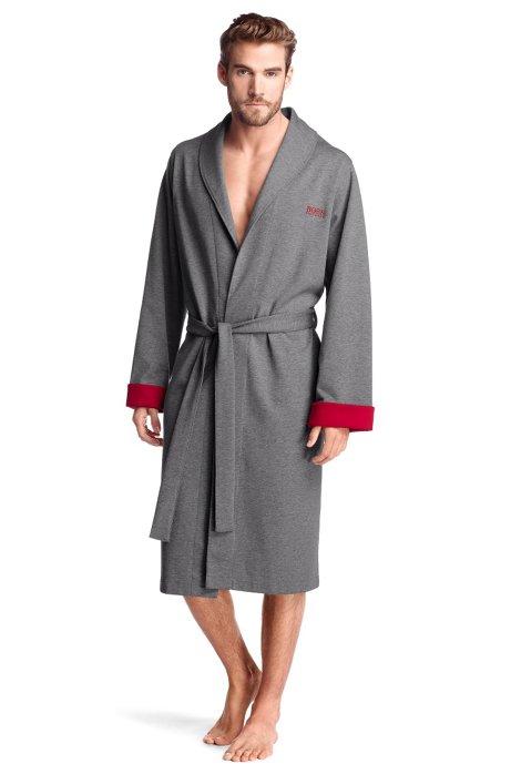 Cotton blend bathrobe 'Shawl Collar BM', Open Grey