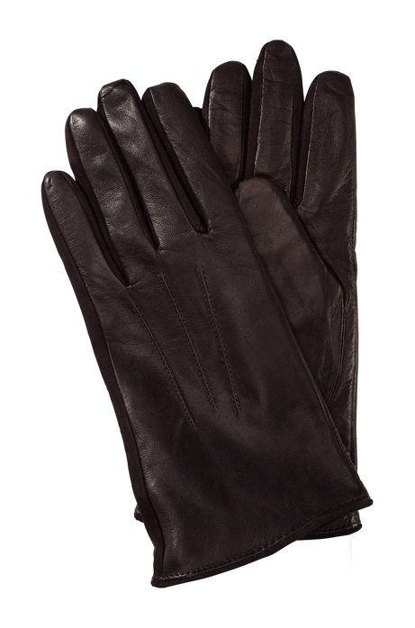 Short lambskin glove 'GL 188', Open Brown