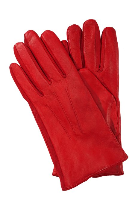 Short lambskin glove 'GL 188', Dark Red