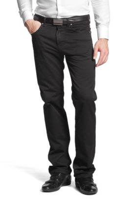 Regular fit jeans ´Kansas-10` van gabardine, Zwart