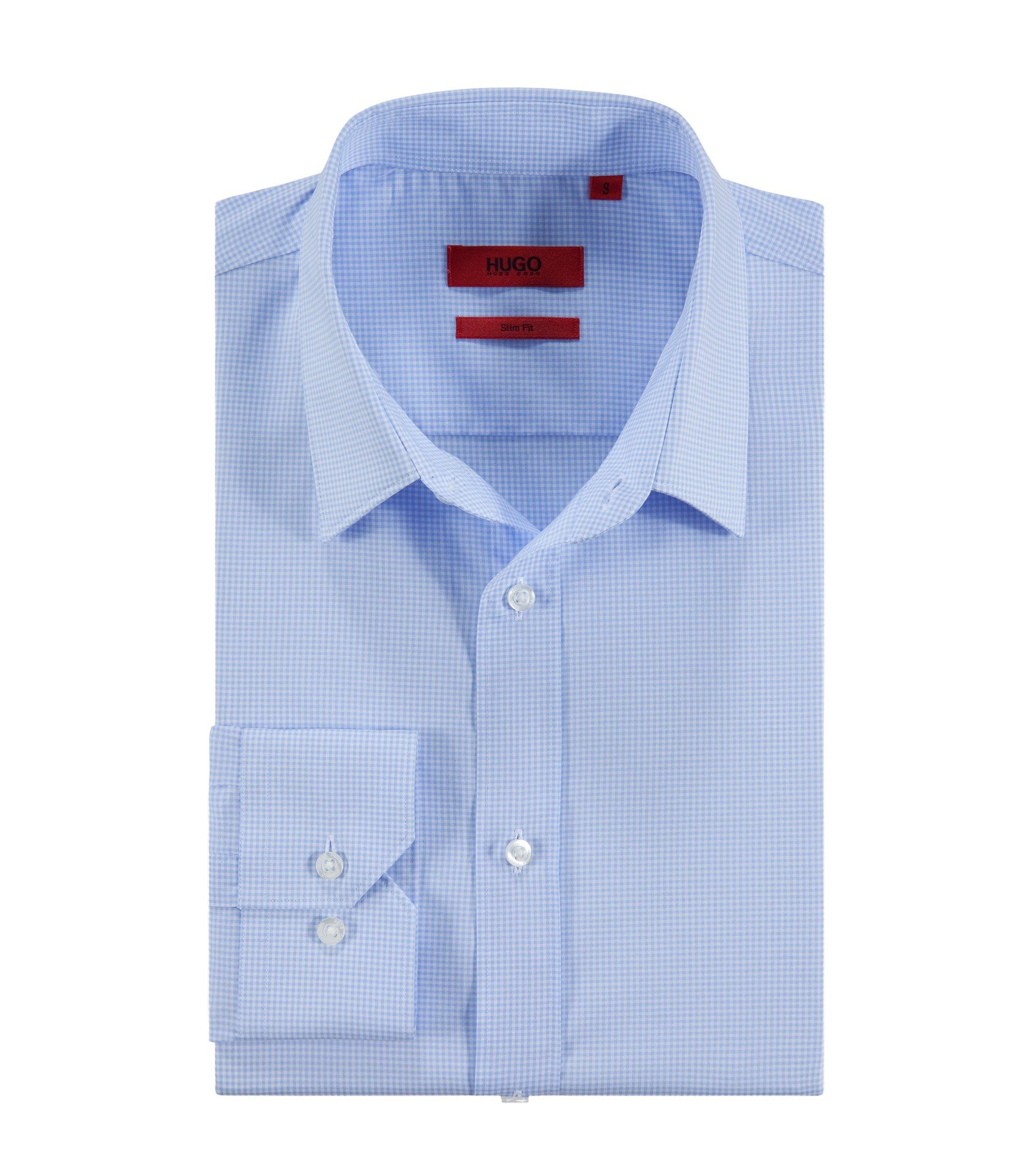 Freizeit-Hemd ´Elisha` mit kleinen Vichy-Karos, Hellblau