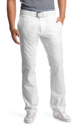 Freizeithose ´Derrik` mit abgesteppten Kanten, Weiß