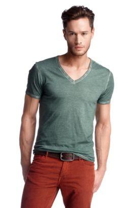 T-Shirt ´Toulouse` mit V-Ausschnitt, Dunkelgrün