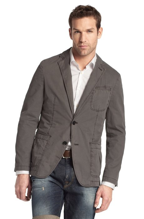 Cotton leisure jacket 'Milo-D', Open Grey