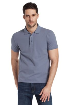 Stretch cotton polo shirt 'Forli', Open Grey