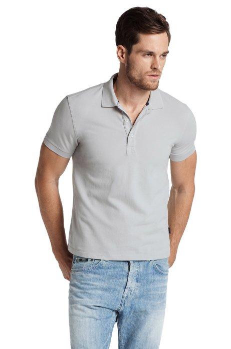 Stretch cotton polo shirt 'Forli', Open Grey