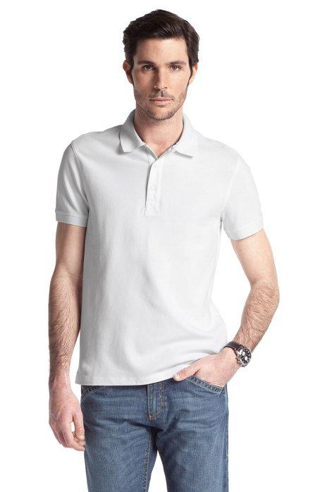 Stretch cotton polo shirt 'Forli', White