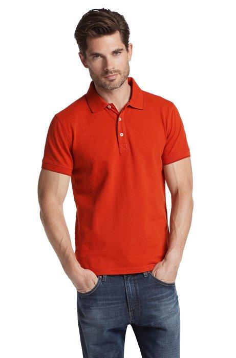 Stretch cotton polo shirt 'Forli', Brown