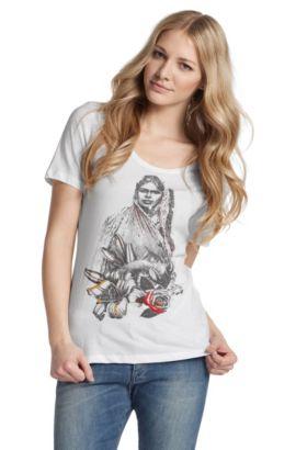 T-shirt ´Taimy` met ronde hals, Wit