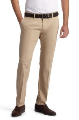 Pantalon en coton lisse, Springer, Beige clair