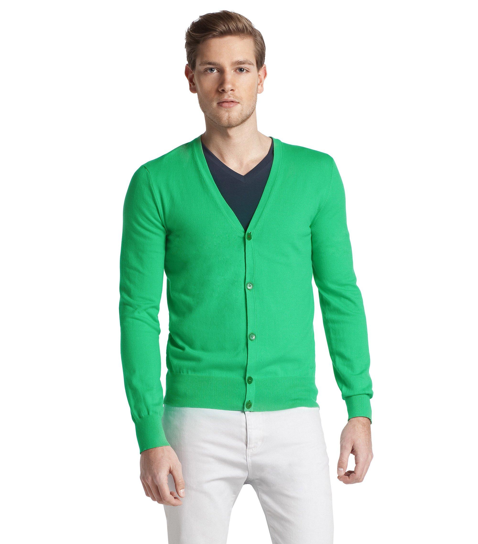 Cardigan ´Samiro` aus Baumwoll-Stretch, Grün