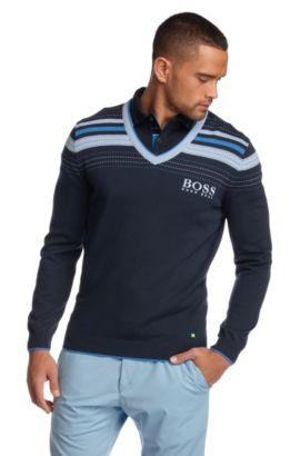 Fijn gebreide trui ´Valthazar Pro` met strepen, Donkerblauw