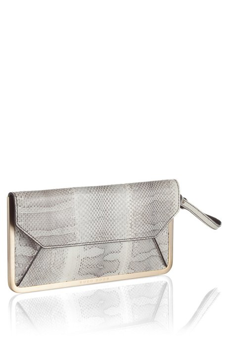 Leather mix envelope clutch bag 'Prika-E', Light Beige