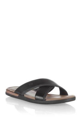 Sandalen ´MELVIO` van leer, Zwart