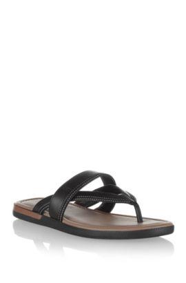 Leather flip-flop 'MELLERO', Black