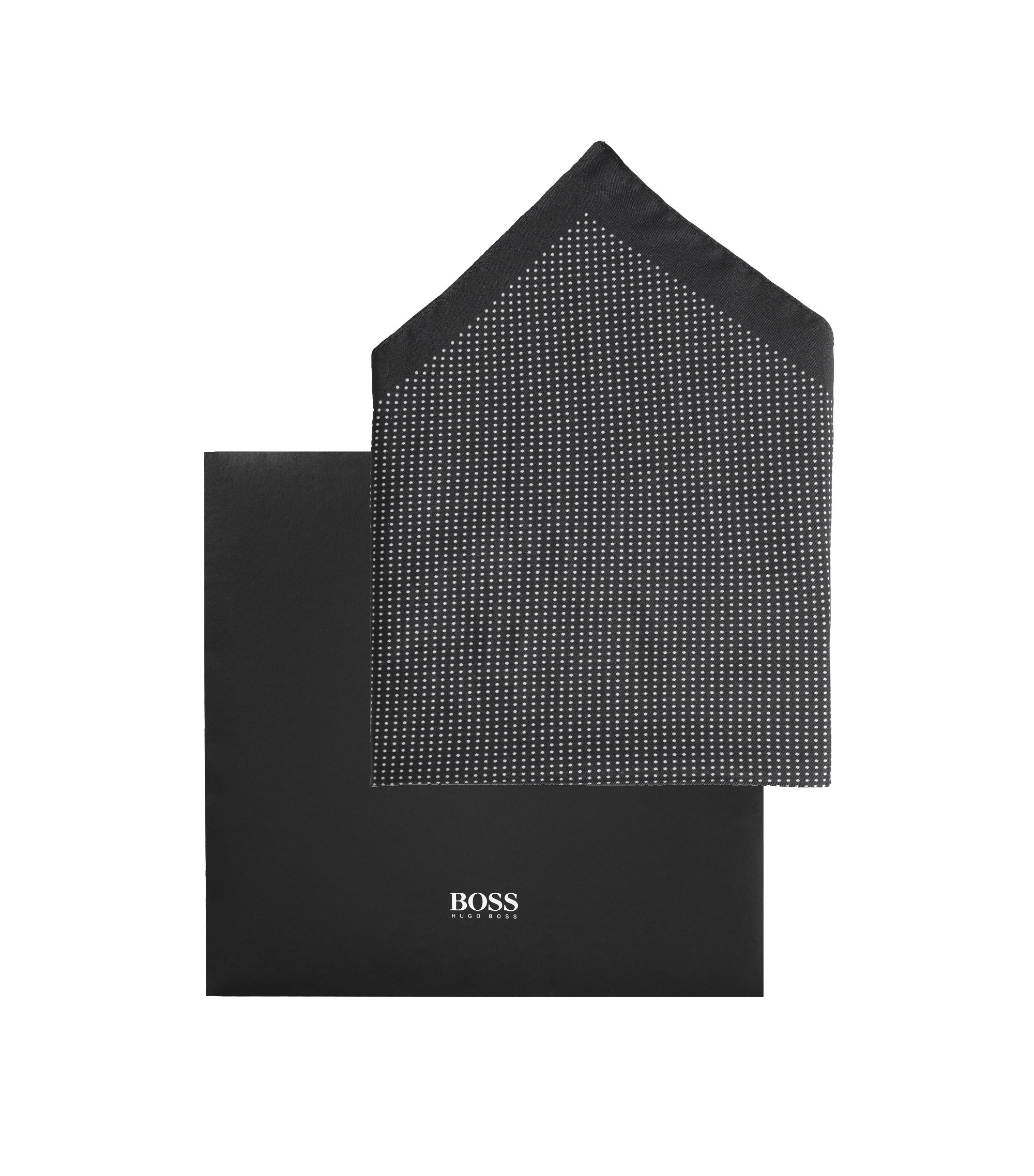 Pochette en soie, Pocket square 33x33, Noir