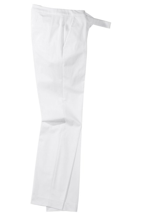 Fashion trousers in cotton-elastane ´Harile`, White