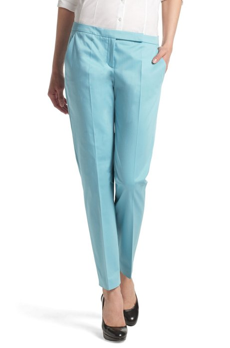 Fashion trousers in cotton-elastane ´Harile`, Light Blue