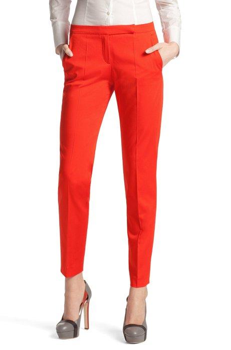 Fashion trousers in cotton-elastane ´Harile`, Orange