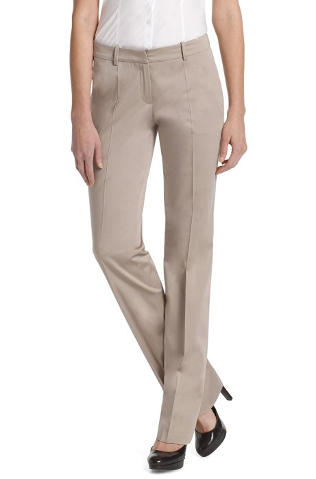 Fabric trousers made of blended cotton'Hinass-4', Khaki