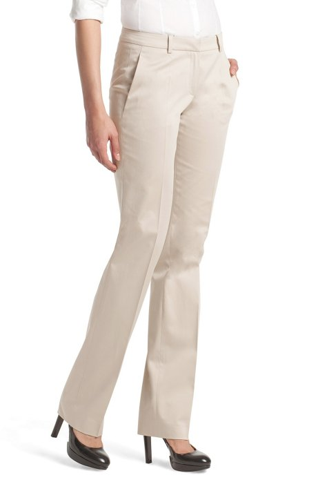 Fabric trousers made of blended cotton'Hinass-4', Light Beige