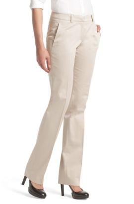 Pantalon en coton mélangé, Hinass-4, Beige clair