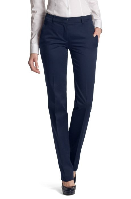 Fabric trousers made of blended cotton'Hinass-4', Dark Blue