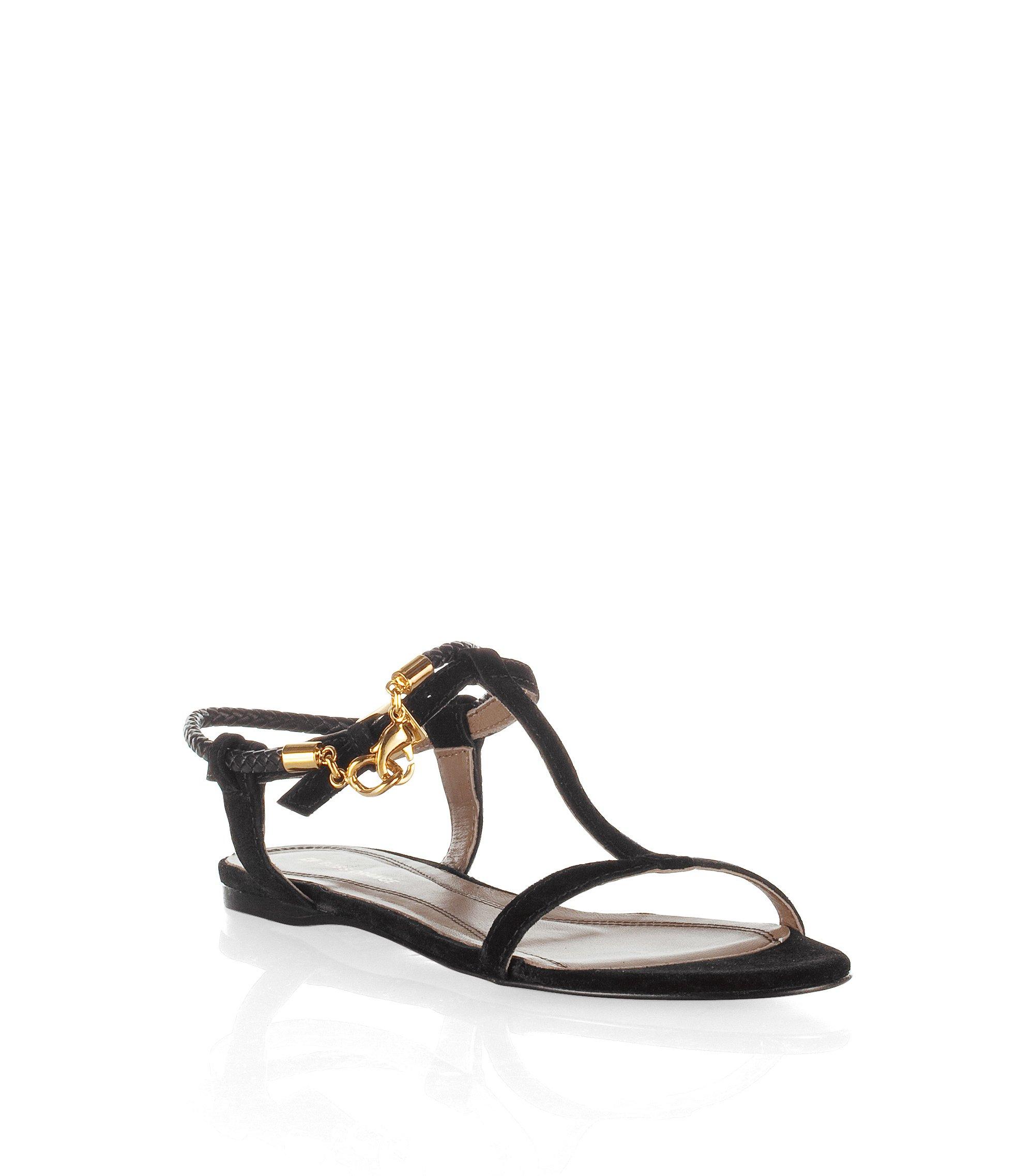 Feine Sandale ´Lynet` aus weichem Wildleder, Schwarz