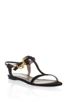 Sandales raffinées en daim souple, Lynet, Noir